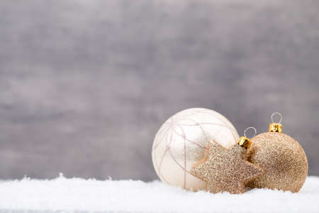 Silver Christmas balls on shiny background. Stock Photo - 87644738