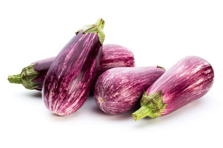 Fresh aubergine on a white background.