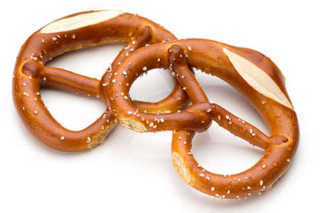 Pretzel isolated on white. Fresh fragrant brezel top view.
