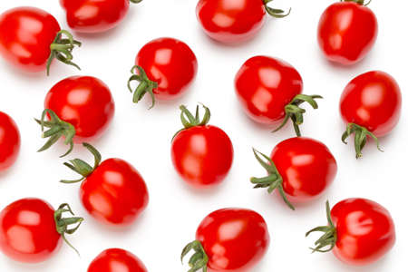 Plum tomatoes isolated on white background. Top view