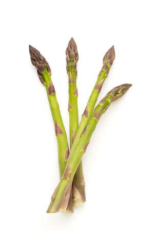 Bio fresh green asparagus isolated on white background.