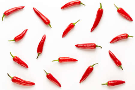 Chili or chilli cayenne pepper isolated on white background cutout. flat lay. Imagens