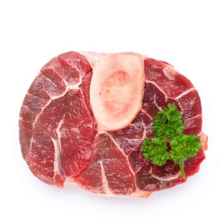 Fresh raw bio  beef steak isolated on white background.