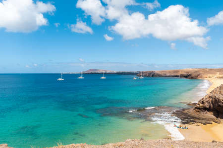 Panorama of beautiful beach and tropical sea of Lanzarote. Canaries
