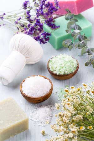 Spa setting with natural sea salt. Spa concept or template for salon treatment invitation.
