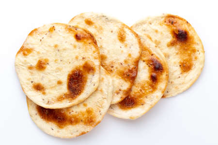 Homemade pita bread. Arab Bread isolated on white background.