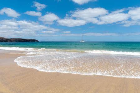 Panorama of beautiful beach and tropical sea of Lanzarote. Canaries Reklamní fotografie