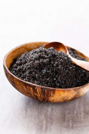 Spa setting with natural sea salt. Spa concept or template for salon treatment invitation. Banco de Imagens