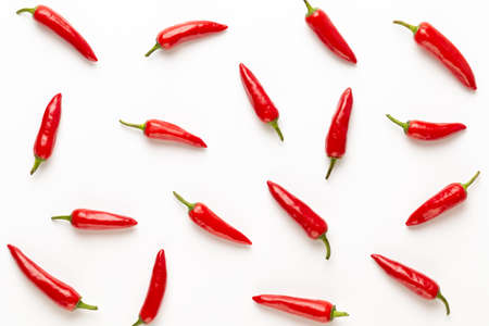 Chili or chilli cayenne pepper isolated on white background cutout. flat lay.