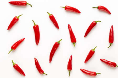 Chili or chilli cayenne pepper isolated on white  cutout. flat lay.