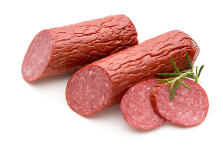 Slices of salami. Isolated on a white