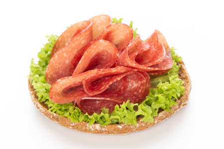 Sandwich with salami sausage on white