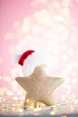 Christmas bokeh background with decorative star.