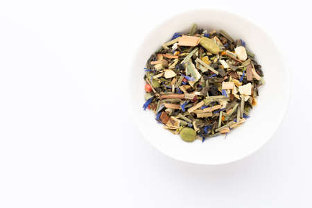 Herbal tea on a white background. Fruit and herbal, tea, turmeric, ginger. Top view. Reklamní fotografie