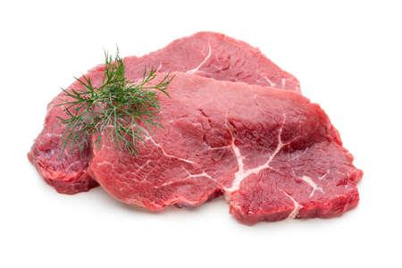 Frisches rohes Bio-Rindfleischsteak isoliert auf weiß Standard-Bild