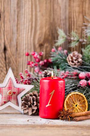 Christmas greeting card. Festive decoration on wooden background. New Year concept. Copy space.  Flat lay. Top view. Reklamní fotografie - 128677123