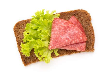 Sandwich with salami sausage on white background. Reklamní fotografie