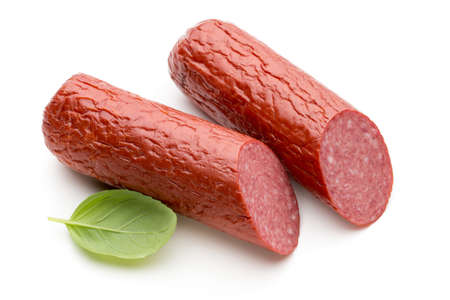 Slices of salami. Isolated on a white background. sausage cut.