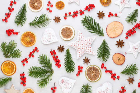 Christmas composition. Gifts, cones decorations on white background. Christmas, winter, new year concept. Flat lay, top view, copy space.  Flat lay. Top view. Stockfoto