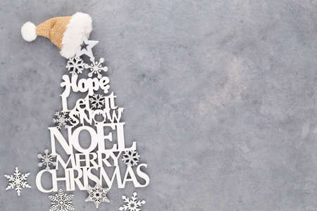 Christmas tree, Noel wish, spruce of the letters. Standard-Bild - 130129801
