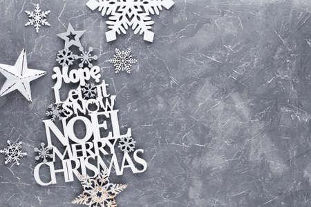 Christmas tree, Noel wish, spruce of the letters. Standard-Bild - 130129844