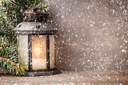 Lantern with christmas tree, Christmas decor. Greeting Card. Foto de archivo - 130812404