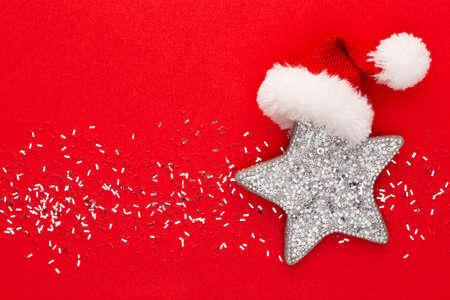 Festive pastel background. Christmas stars and shining glitter on pastel background. Christmas. Wedding. Birthday. Valentines Day. Flat lay. Stock Photo