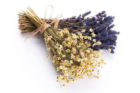 Natural cosmetics with lavender and orange, lemon  for homemade spa on white