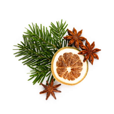 Pine cones and fir tree branch on a white background. Banco de Imagens