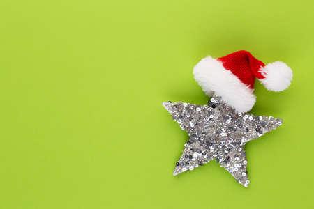 Christmas star, decor on pastel colored Banco de Imagens