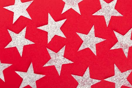 Star golden glitter on red Banco de Imagens