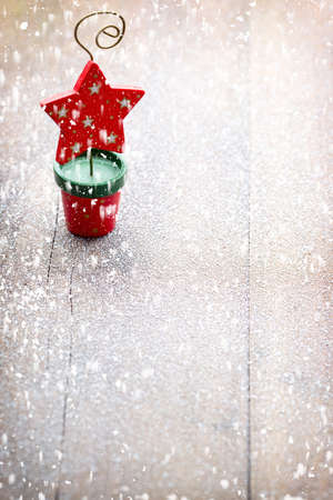 Christmas decoration over wooden background. Stockfoto