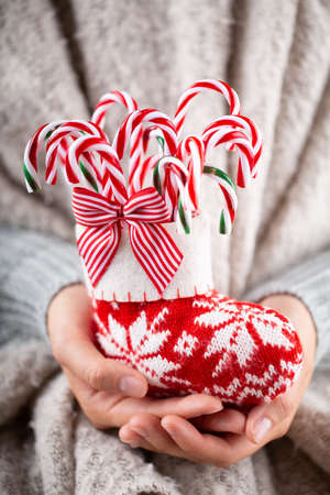 Winter Concept Young Hands Holding christmas candy canes, stick decor.  Christmas decoration idea. Christmas canes, stick in the hands of a woman, background with gold bokeh.