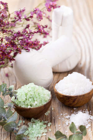 Spa setting with natural sea salt. Spa concept or template for salon treatment invitation.
