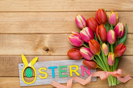Spring greetings card with tulips for Easter, Mother's Day. Stockfoto