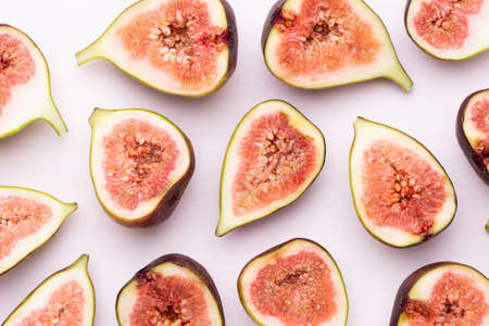 Fig fruits isolated on white background. Top view. Flat lay. Stockfoto