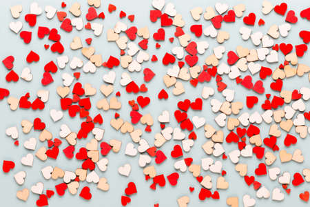 Valentines day background pastel  hearts on blue  background.Greeting card. Stockfoto