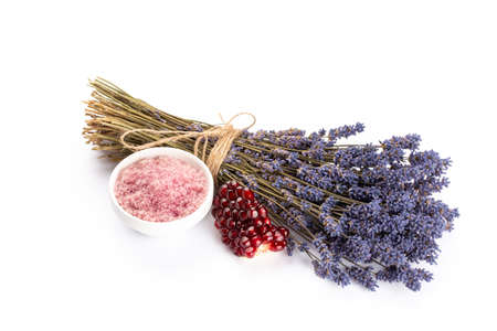 Natural cosmetics with lavender and pomegranate, for homemade spa on white background top view mock up. Foto de archivo