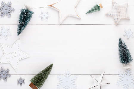 Vintage Christmas background with Christmas decoration. Christmas greeting card. New Year concept. Copy space. Flat lay. Top view.