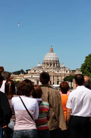 beatification: Rome, Italy - May 1, 2011 - crowd looking at st peters cathedral during the celebration for the beatification of John Paul II