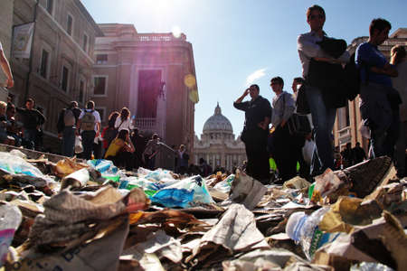 beatification: Rome, Italy - May 1, 2011 - trash on the floor after the celebration for the beatification of John Paul II