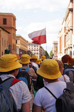 beatification: Rome, Italy - May 1, 2011 - polish pilgrims during the celebration for the beatification of John Paul II