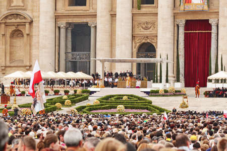 beatification: Rome, Italy - May 2, 2011 - cardinal bertone saying the mess during the celebration for the beatification of John Paul II