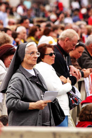beatification: Rome, Italy - May 2, 2011 - a nun during the celebration for the beatification of John Paul II Editorial