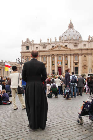 beatification: Rome, Italy - May 2, 2011 - a gesuit father in st peters square during the celebration for the beatification of John Paul II