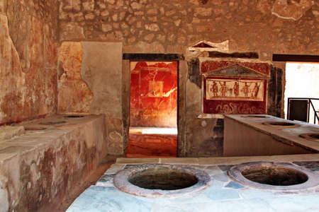 Pompei, Italy - October 2, 2010 - Ancient kitchen