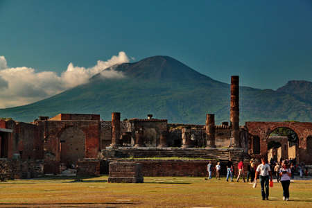 Pompei, Italy - October 2, 2010 - View of ruins and Vesuvio