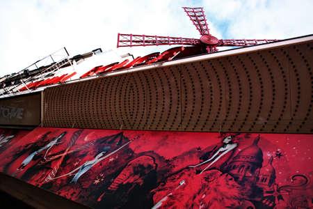 scandalous: Paris, France - July 26, 2010 - Entrance of the Moulin Rouge