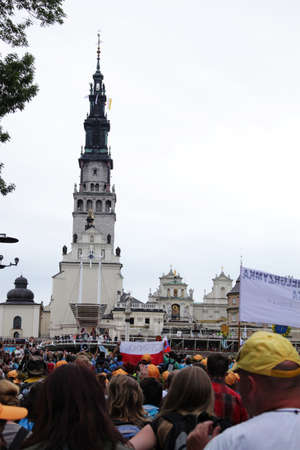 Czestochowa, Poland - August 11, 2011 - Pilgrims from Cracow arrive to the Jasna Gora Sanctuary