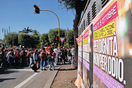 indignados: Rome - October 15 2011 - Crowd demonstrates against the austerity measures Editorial